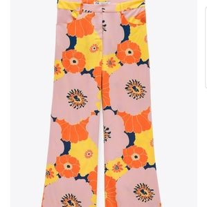 Zara M groovy floral hippie pants orange pink